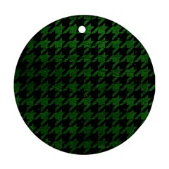 Houndstooth1 Black Marble & Green Leather Round Ornament (two Sides)