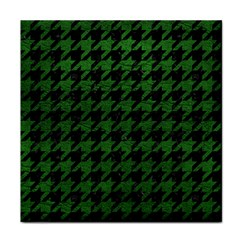 Houndstooth1 Black Marble & Green Leather Face Towel