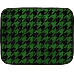 Houndstooth1 Black Marble & Green Leather Fleece Blanket (mini)