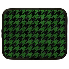 Houndstooth1 Black Marble & Green Leather Netbook Case (xxl)
