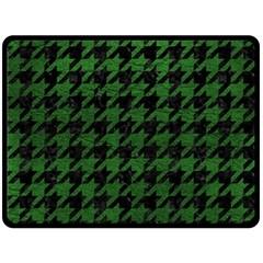 Houndstooth1 Black Marble & Green Leather Fleece Blanket (large)