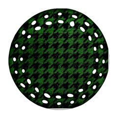 Houndstooth1 Black Marble & Green Leather Round Filigree Ornament (two Sides)
