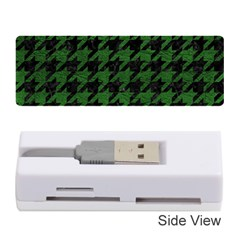 Houndstooth1 Black Marble & Green Leather Memory Card Reader (stick)