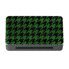 Houndstooth1 Black Marble & Green Leather Memory Card Reader With Cf