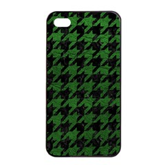 Houndstooth1 Black Marble & Green Leather Apple Iphone 4/4s Seamless Case (black)