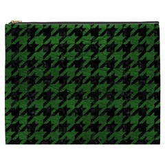 Houndstooth1 Black Marble & Green Leather Cosmetic Bag (xxxl)