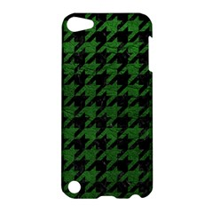 Houndstooth1 Black Marble & Green Leather Apple Ipod Touch 5 Hardshell Case