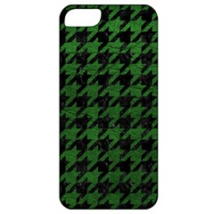 Houndstooth1 Black Marble & Green Leather Apple Iphone 5 Classic Hardshell Case
