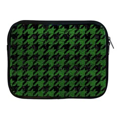 Houndstooth1 Black Marble & Green Leather Apple Ipad 2/3/4 Zipper Cases