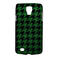 Houndstooth1 Black Marble & Green Leather Galaxy S4 Active