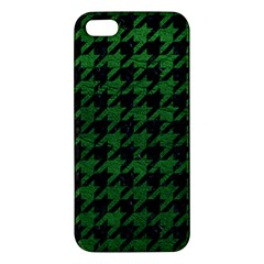 Houndstooth1 Black Marble & Green Leather Iphone 5s/ Se Premium Hardshell Case