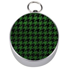 Houndstooth1 Black Marble & Green Leather Silver Compasses
