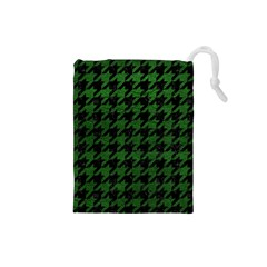 Houndstooth1 Black Marble & Green Leather Drawstring Pouches (small)