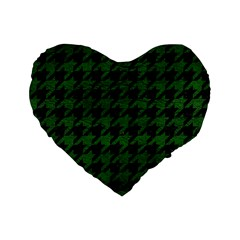 Houndstooth1 Black Marble & Green Leather Standard 16  Premium Flano Heart Shape Cushions
