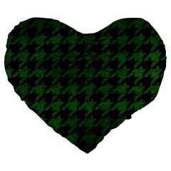 Houndstooth1 Black Marble & Green Leather Large 19  Premium Flano Heart Shape Cushions