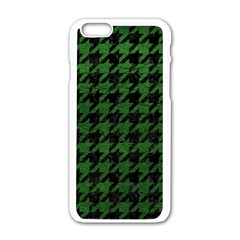 Houndstooth1 Black Marble & Green Leather Apple Iphone 6/6s White Enamel Case