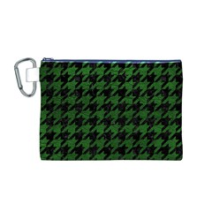 Houndstooth1 Black Marble & Green Leather Canvas Cosmetic Bag (m)