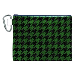 Houndstooth1 Black Marble & Green Leather Canvas Cosmetic Bag (xxl)