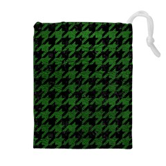 Houndstooth1 Black Marble & Green Leather Drawstring Pouches (extra Large)
