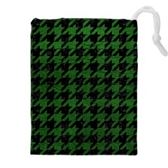 Houndstooth1 Black Marble & Green Leather Drawstring Pouches (xxl)