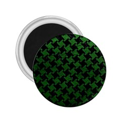Houndstooth2 Black Marble & Green Leather 2 25  Magnets
