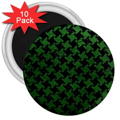 Houndstooth2 Black Marble & Green Leather 3  Magnets (10 Pack)