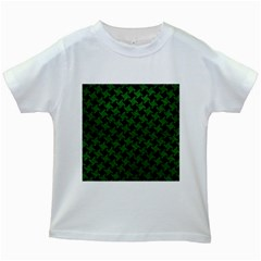 Houndstooth2 Black Marble & Green Leather Kids White T Shirts
