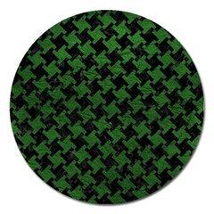 Houndstooth2 Black Marble & Green Leather Magnet 5  (round)