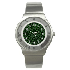 Houndstooth2 Black Marble & Green Leather Stainless Steel Watch