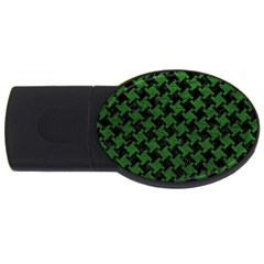 Houndstooth2 Black Marble & Green Leather Usb Flash Drive Oval (4 Gb)
