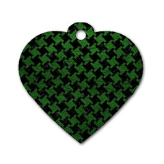 Houndstooth2 Black Marble & Green Leather Dog Tag Heart (two Sides)