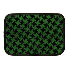 Houndstooth2 Black Marble & Green Leather Netbook Case (medium)