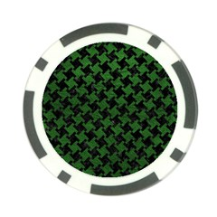 Houndstooth2 Black Marble & Green Leather Poker Chip Card Guard (10 Pack)