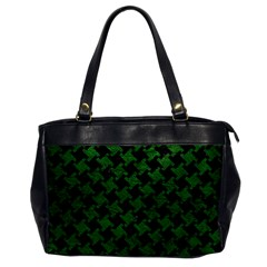 Houndstooth2 Black Marble & Green Leather Office Handbags