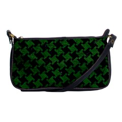 Houndstooth2 Black Marble & Green Leather Shoulder Clutch Bags