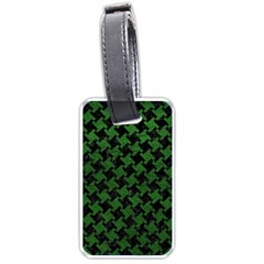Houndstooth2 Black Marble & Green Leather Luggage Tags (one Side)