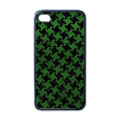 Houndstooth2 Black Marble & Green Leather Apple Iphone 4 Case (black)