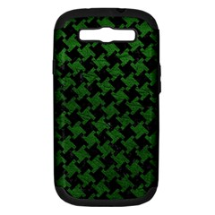 Houndstooth2 Black Marble & Green Leather Samsung Galaxy S Iii Hardshell Case (pc+silicone)