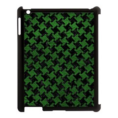 Houndstooth2 Black Marble & Green Leather Apple Ipad 3/4 Case (black)
