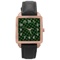 Houndstooth2 Black Marble & Green Leather Rose Gold Leather Watch
