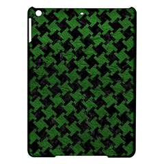 Houndstooth2 Black Marble & Green Leather Ipad Air Hardshell Cases