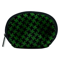 Houndstooth2 Black Marble & Green Leather Accessory Pouches (medium)