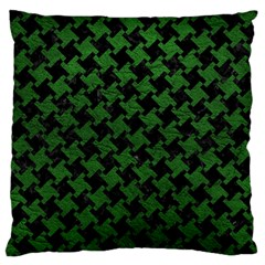 Houndstooth2 Black Marble & Green Leather Large Flano Cushion Case (one Side)