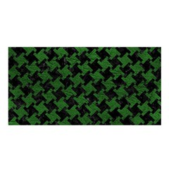Houndstooth2 Black Marble & Green Leather Satin Shawl