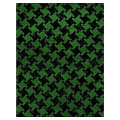 Houndstooth2 Black Marble & Green Leather Drawstring Bag (large)