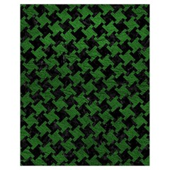 Houndstooth2 Black Marble & Green Leather Drawstring Bag (small)