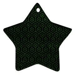 Hexagon1 Black Marble & Green Leather Ornament (star)