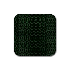 Hexagon1 Black Marble & Green Leather Rubber Square Coaster (4 Pack)