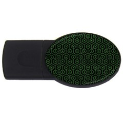 Hexagon1 Black Marble & Green Leather Usb Flash Drive Oval (2 Gb)