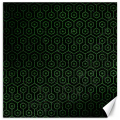 Hexagon1 Black Marble & Green Leather Canvas 16  X 16
